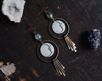 alkmene. a pair of labradorite and mixed metal crescent moon fringe bohemian earrings