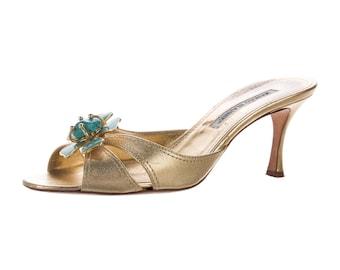 Manolo Blahnik Embellished Metallic Sandals