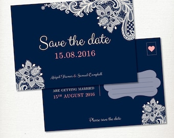 Save the Date Postcard Blue & Lace Wedding Engagement, Printable Digital, Vintage, Rustic and Romantic