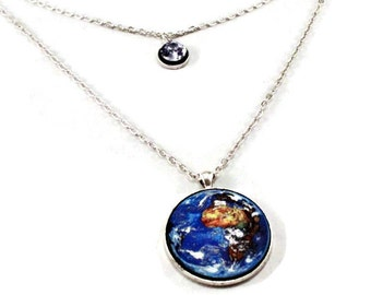 Earth and Moon Planet Necklace, Statement Necklace, Pendant Necklace, Science Jewelry, Custom