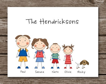 PRINTABLE Stick Family Note Cards, Family Note Cards, Family Cards, Family Stationery, Personalized Note Cards