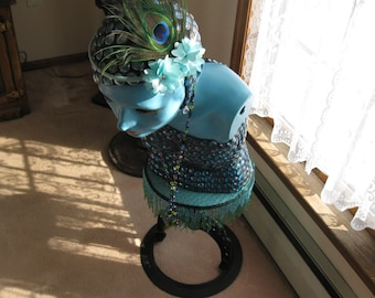 "Local Pick Up Only ANTIQUE MANNEQUIN Covered In Blue Aqua Beads On Antique Water Heater Stand Mannequin 42"" On Stand 25"" Alone Art Deco Look"