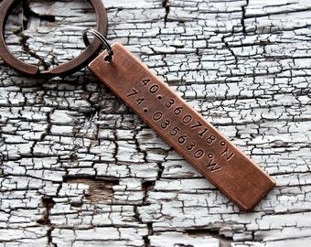 Custom Coordinates Keychain,coordinate Latitude longitude Keychain, coordinate Custom Keychain, coordinate Personalized  keychain