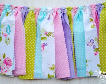 Tea Party Fabric Bunting - FREE Shipping - Tea Party Bunting - Tea Party Garland - Tea Party Banner - Tea Party Decor - Tea Party