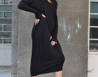 Womens Dresses, Long Sleeve Dress, Off Shoulder Dress, Cotton Dress with Tumbhole, Bare Back Dress, Black Dress, Elegant Dress - DR0307TR