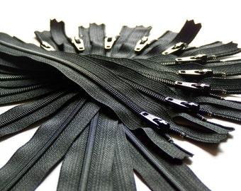 Ten 24 Inch Black Zippers YKK Color 580