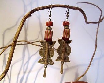 "Ethnic earrings of African beads ""baule"" bronze anciennesen"