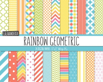 Geometric Digital Paper Package. Rainbow Backgrounds. Printable Papers Set. Colorful Geometric Patterns. Digital Scrapbook. Instant Download