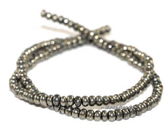 4MM Iron Pyrite Gemstones Pebble Rondelle 4X3MM Loose Beads 15.5 inch Full Strand (90107066-137)