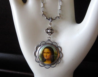 Mona Lisa Cameo Necklace Filagree Silver Tone Setting Steam Punk Feminine Renaissance Faire