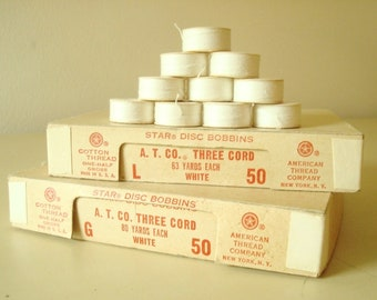 Complete box of paper thread bobbins, vintage ATCO Star disc bobbins, white cotton thread on paper spools, 72 G bobbins or 60 L bobbins