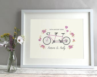 Tandem Bike Wedding Gift, Wedding Present Personalised, Bicycle Personalised Gift Print, Unique Wedding Gift For Couple Cyclists (unframed)