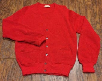 Vintage Retro Mid Century Alpaca Button Front Grandpa Grandfather Hipster Varsity Cardigan Sweater Mens Large