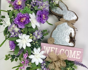Wreaths for front door, Beautiful Wreaths, Easter Bunny Wreath, Easter Welcome Wreath, Spring Grapevine Wreath, Easter Wreath, Spring Wreath