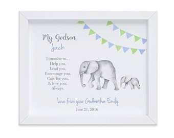 Personalized Gift for Godson from Godmother, Hand Painted Wall Art Print for Christmas, Godson, Goddaughter Gift