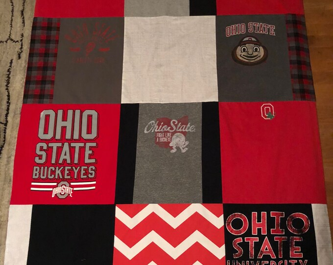 """Featured listing image: Columbus, Ohio university T-Shirt Quilt 48""""x64"""" couch throw Upcycled One of a Kind"""