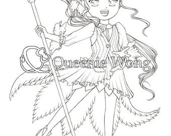Printable coloring pages, instant download, a set of 4 coloring pages, Cute Magical Girls, CP02