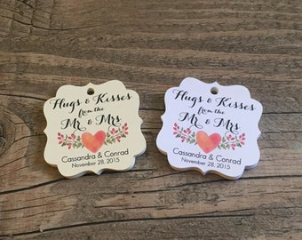 """20 Personalized Mr. & Mrs. Wedding Favor Tags, 1.75"""" - White or Ivory, Watercolor favor tags, Wedding tags, Engagement, Wedding Favors"""