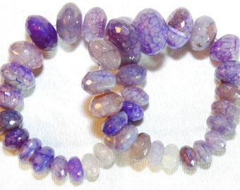 Purple genuine agate beaded bracelet.  Women's