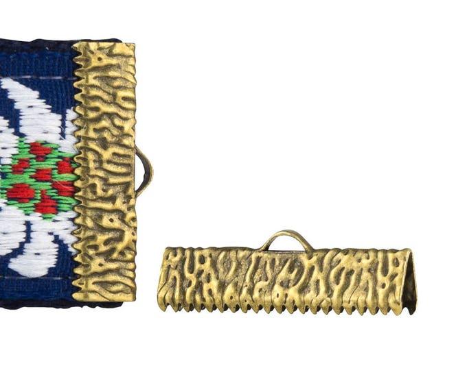 16 pieces  25mm  (1 inch)   Antique Bronze Ribbon Clamp End Crimps - Artisan Series
