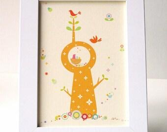Framed Whimsical Bird Tree Print