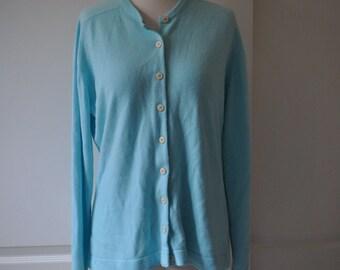 60s blue green Talbott cardigan
