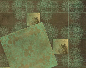 Instant Download Digital Printable Scrapbooking Background Paper Set - Chocolate and turquoise
