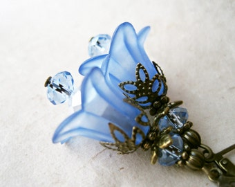 Blue Flower Earrings, Lucite Lily Earrings, Sapphire Blue Bridesmaid Earrings, Winter Wedding Jewelry, Antique Bronze Floral Earrings