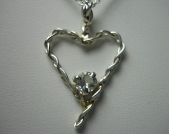 Quarts Crystal Heart Pendant