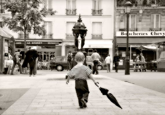 Paris Street Scene, Paris Photography, Scene of life Paris, street scene, paris retro print, umbrella, umbrella print, umbrella art