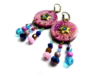 Pink and Blue Flower Earrings handmade by Little Valentine