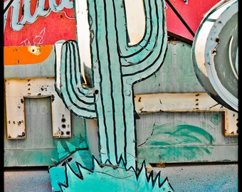 Neon Cactus Sign Photo, Cactus Wall Art, Las Vegas Cactus Sign, Pop Retro Neon Cactus Art, Las Vegas Fine Art Photography