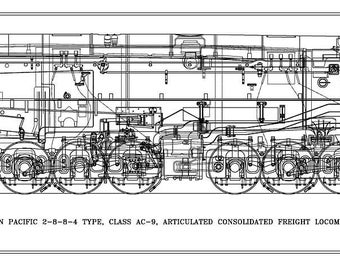 Southern Pacific Class AC-9 2-8-8-4 Type Locomotive Drawing - Side View