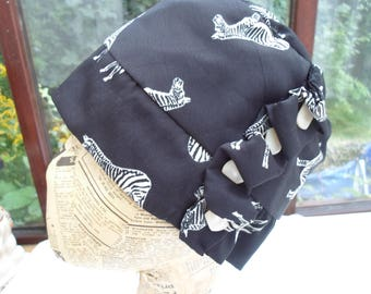 Zebra print cotton cloche hat