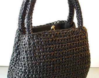 Vintage Black Raffia Handbag