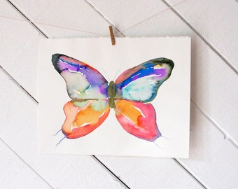 Aurora - Colorful Butterfly - original watercolor painting on watercolor paper- unframed