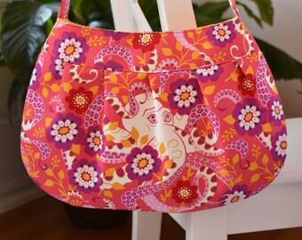 Pleated Fabric Purse, Large - Octopus Garden - Buttercup bag, cotton, handbag, large, purse, pleats, octopus, pink, purple, yellow, flowers