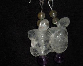 Crystal turtle earrings with amazonite
