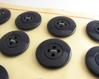 """12 big navy blue buttons, vintage trench coat buttons on cards, 28 mm / 1 1/8"""" across"""