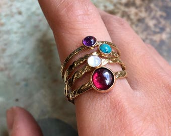 Stacking birthstone rings set, four birthstone rings, Gold ring, brass ring, stacking family ring, skinny ring, mothers ring - Mom R2502-5