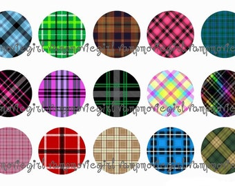 INSTANT DOWNLOAD...Pretty In Plaid..... 1 Inch Circle Image Collage for Bottle Caps...Buy 3 get 1