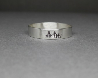 Sterling silver pine tree ring - Pacific Northwest - Pine tree jewelry - hiker ring - nature lover ring - pine trees - northwoods jewelry