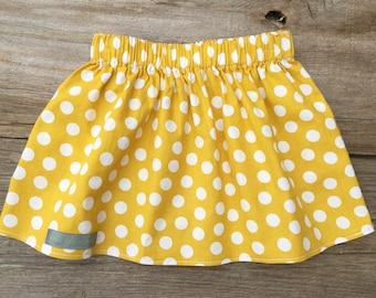 Mustard/white polka dot skirt, infant/toddler skirt, handmade clothing