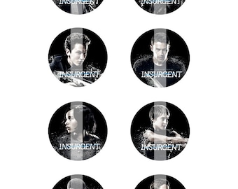 """INSTANT DOWNLOAD. Insurgent inspired 4x6"""" Digital collage sheet of 1"""" round images for Bottle Caps or other similar crafts"""