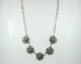 Boho Style Silver Floral Necklace