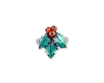 Sterling Silver Enameled Holly Ring Jewelry HLY1-ENR