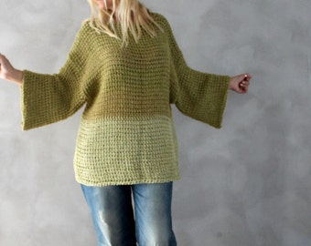 Cotton Sweater Plus Size Sweater Hand Knitted Olive Green Beige Oversized Sweater Natural Knit Sweater Plus Size Tunic Plus Size Holiday
