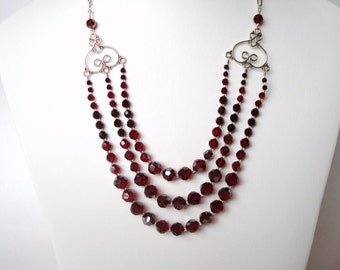 red crystal and sterling silver multi-strand necklace