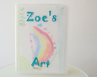 "Kids Art Portfolio, Personalized Portfolio for display and storage - Whimsical Design 13""x19"""