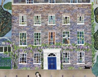 William Morris Haus Grußkarte, Fluss, Themse, Schwäne, Illustration, Collage, Karte, Geburtstag, Notecard, London, Amanda weiss